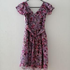 Express V neck floral dress XS